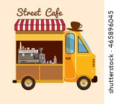 cafe on wheels  bus  street... | Shutterstock .eps vector #465896045