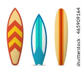 Color Surfboard Set. Sea...