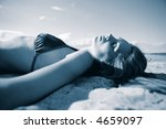 happy woman on the beach... | Shutterstock . vector #4659097