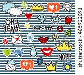 set of fashionable patches... | Shutterstock .eps vector #465922091