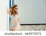 young cute girl  wearing a... | Shutterstock . vector #465972971