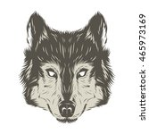 wolf head hand draw | Shutterstock .eps vector #465973169