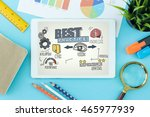 best practice concept on tablet ... | Shutterstock . vector #465977939