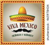 viva mexico sombrero and... | Shutterstock .eps vector #465978434
