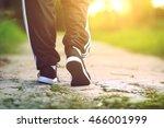 runner feet running on concrete ... | Shutterstock . vector #466001999