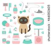 cute siamese cat in flat design ... | Shutterstock . vector #466002605