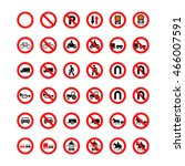 big set of forbidden road signs ... | Shutterstock .eps vector #466007591