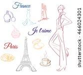 doodle paris france eiffel... | Shutterstock .eps vector #466024301