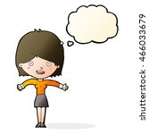 cartoon excited woman with... | Shutterstock . vector #466033679