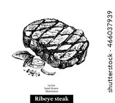 Hand Drawn Sketch Ribeye Steak...