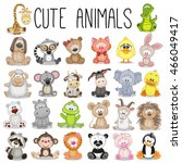 set of cute animals on a white... | Shutterstock . vector #466049417