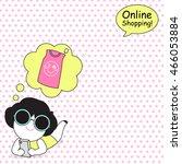 shop till you drop character...   Shutterstock .eps vector #466053884