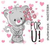 valentine card cute cartoon... | Shutterstock . vector #466055084