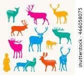 deer silhouette set | Shutterstock .eps vector #466058075