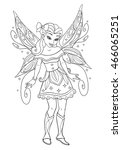 Outlined Beautiful Fairy With...