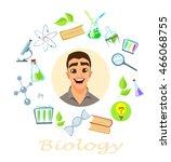 biology teacher. infographic ... | Shutterstock .eps vector #466068755