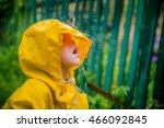 child in a yellow waterproof... | Shutterstock . vector #466092845