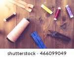 sewing tools on wooden... | Shutterstock . vector #466099049