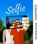 happy couple making selfie...   Shutterstock .eps vector #466099829