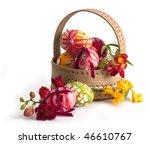 Basket Full Of Easter Eggs An...