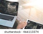 businessman hand working with... | Shutterstock . vector #466113374