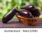 Eggplant In A Wicker Basket On...