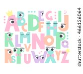 alphabet with eyes and lashes... | Shutterstock .eps vector #466126064