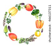 watercolor wreath with... | Shutterstock . vector #466137311