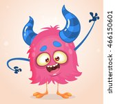 happy cartoon pink monster.... | Shutterstock .eps vector #466150601