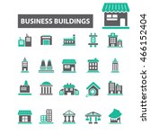 business buildings icons | Shutterstock .eps vector #466152404