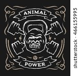 two barbell and head gorilla... | Shutterstock .eps vector #466155995