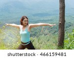beautiful woman warm up body...   Shutterstock . vector #466159481