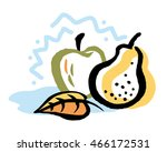 colorful autumn fruits and... | Shutterstock .eps vector #466172531
