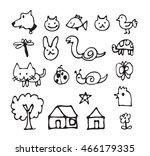 ink brush animal icon design ... | Shutterstock .eps vector #466179335
