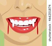 female vampire bloody mouth... | Shutterstock .eps vector #466201874
