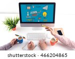 learn and lead concept on... | Shutterstock . vector #466204865