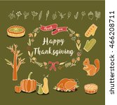 autumn thanksgiving foliage... | Shutterstock .eps vector #466208711