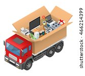 isometric red cargo truck with... | Shutterstock .eps vector #466214399