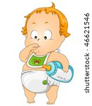 baby thumb sucking   vector | Shutterstock .eps vector #46621546