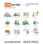 color thin line icons set. back ... | Shutterstock .eps vector #466219601