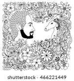 vector illustration zentangl a... | Shutterstock .eps vector #466221449