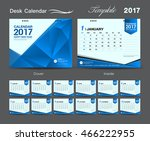 set blue desk calendar 2017... | Shutterstock .eps vector #466222955