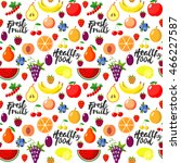 fresh fruits flat style... | Shutterstock . vector #466227587