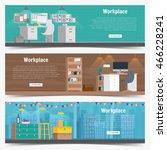 web banner set office workplace ... | Shutterstock .eps vector #466228241