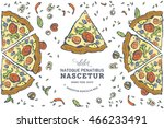 hand drawn background pizza... | Shutterstock .eps vector #466233491