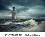 lighthouse on the sea under sky. | Shutterstock . vector #466238639