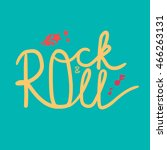 rock and roll lettering for t... | Shutterstock .eps vector #466263131