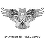 eagle owl. adult antistress... | Shutterstock .eps vector #466268999