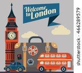 retro illustration of london | Shutterstock . vector #466289579