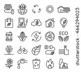 thin line ecology icon set ... | Shutterstock .eps vector #466294025